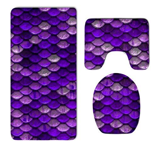 3 Piece Super Cozy Memory Foam Bathroom Rug Shag, Non Slip Rubber Backing Quick Dry - Water Absorbent Bathroom Rug Carpet Contour Mat & Lid Cover, Purple Mermaid Fish -