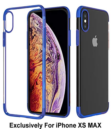 Blue Case Crystal Clear - Pelotek; iPhone Xs Max Blue Protective Case, iPhone Xs Max Blue Clear Case | Ultra Thin Hybrid Shield Shockproof | Wireless Charging Compatible | See Through HD Crystal Clear | Blue Hard Case (Blue)