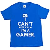 Fancy A Snuggle I Can't Keep Calm I'm A Gamer Kids Boys / Girls T-Shirt Royal Blue 7-8 Year Old