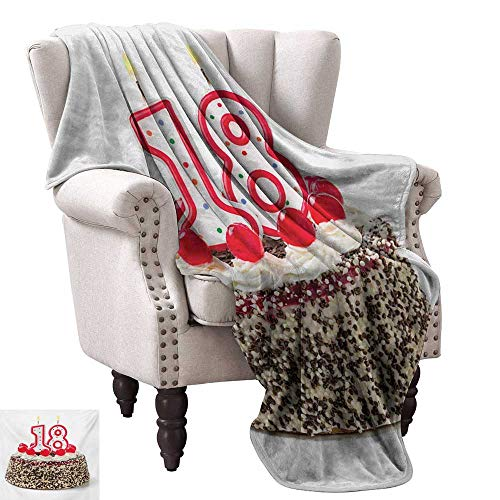 (WinfreyDecor 18th Birthday Reversible Blanket Sweet Eighteen Party Cake with Candles and Cherries Sprinkle Vibrant Photo Bedroom Warm 60