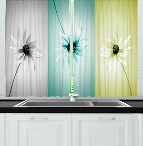 Cheap Ambesonne Abstract Kitchen Curtains, Daisy Flowers in Different Featured Framed Saturated Artsy Image, Window Drapes 2 Panels Set for Kitchen Cafe, 55 W X 39 L Inches, Turquoise Grey Avocado Green