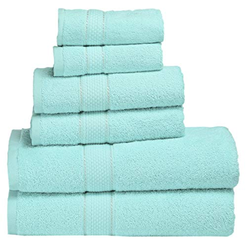 Premium Bath Towel 6 Piece Set (2 Bath Towels, 2 Hand Towel, 2 Washclothes) - Hotel & Spa Quality - 100% Combed Cotton Towels - Super Soft, Highly Absorbent and Machine Washable (Carib Blue) (Light Purple Towels)