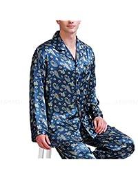 0b51dbf0fc Mens Silk Satin Pajamas Set Pajama Pyjamas Sleepwear Set Loungewear