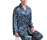 Mens Silk Satin Pajamas Set Pajama Pyjamas Sleepwear Set Loungewear,Dark Green,L