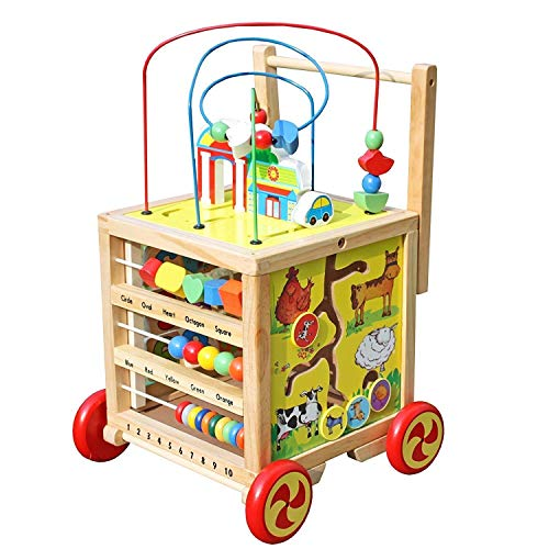 Timy Wooden Learning Bead Maze Cube 5 in 1 Educational Activity Center, Push&Pull Walking Toy for Toddler Baby (Best Push Toys For Walking)