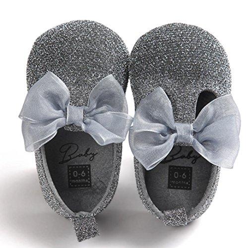 Hunpta Babyschuhe Mädchen Jungen Lauflernschuhe Baby Mädchen Bowknot Leater Schuhe Sneaker rutschfest weiche Sohle Toddlerr (11, Gray) Gray