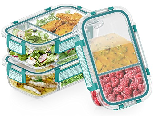 (3 Pack) 2-Compartment Glass Meal Prep Containers Microwavable with Green Airtight Snap-Locking Lids Glass Lunch Containers with NEW DIVIDER SEAL TECHNOLOGY Food Storage Containers BPA Free (36 oz)