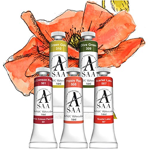 Paint a Poppy Challenge Paint Set - SAA Artists' Watercolours 14ml Tubes x 5 ()