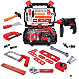 Kids Tools Set with 24 Pretend Play Construction Tools in Sturdy Case, Toy Choi's Gift Toys for Toddlers Children Baby Boys and Girls