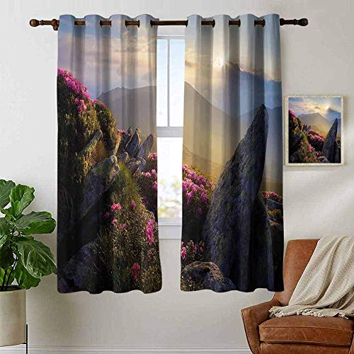 (petpany Window Curtain Fabric Mountain,Sunrise in Valley Meadow with Rhododendrons Wildlife Idyllic Rural Scenery,Yellow Green Pink,Rod Pocket Curtain Panels for Bedroom & Living Room 42