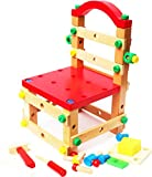 Wooden Nuts and Bolts Set- Construction Work Bench Chair - wooden construction kits for kids - wooden toys 4 year old