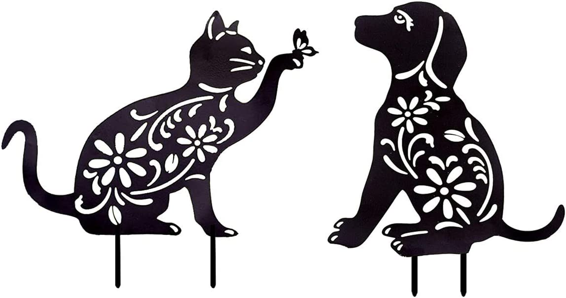danfan 2PCS Animal Silhouette Garden Stake Acrylic Cat Dog Shaped Yard Decoration Sign Hollow Out Animal Shape Art Lawn Outdoor Home Decor