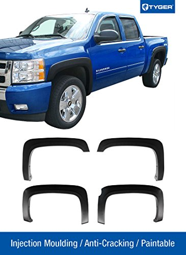 Tyger Auto TG-FF6C4298 for 2007-2013 Chevy Silverado 1500 5.8' Short Bed (NOT for Sierra) | Excl. 2007 Classic Models | Paintable Fine-Textured Matte Black OE Style Fender Flare Set, 4 Piece -