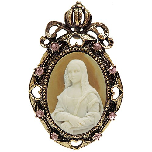 (2 X 3 Whistler's Mother Cameo Brooch, Pendant, Rhinestone Trim, in Antique Brass with Pink Finish)