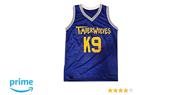 d8b5fec3dfe9 Amazon.com  borizcustoms Air K9 Timberwolves Blue Basketball Jersey Stitch  Royal Yellow  Clothing