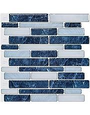 LONGKING Self-Adhesive Kitchen Backsplash, Marble Look Decorative Tiles (10 Tiles) (Dark Blue)