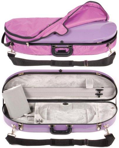 Bobelock 1047FV Purple Fiberglass 4/4 Violin Case with Silver Velvet Interior and Protective Bag by Bobelock