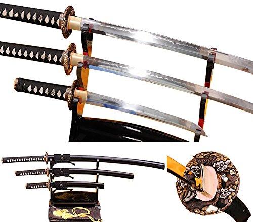 Lyuesword Japanese Katana Set of 3 Hand Forged Katana Wakizashi Tanto Set 3 Piece Full Tang Clay Tempered T-10 High Carbon Steel
