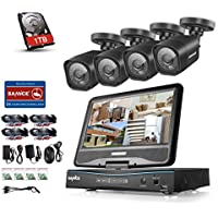 SANNCE 8CH 720P Security System DVR Recorder with Built-in 10.1 LCD Monitor and (4) HD 1.0MP 1280TVL Outdoor CCTV Bullet Cameras, H.264 Real-time, Remote Access Viewing, Including 1TB HDD