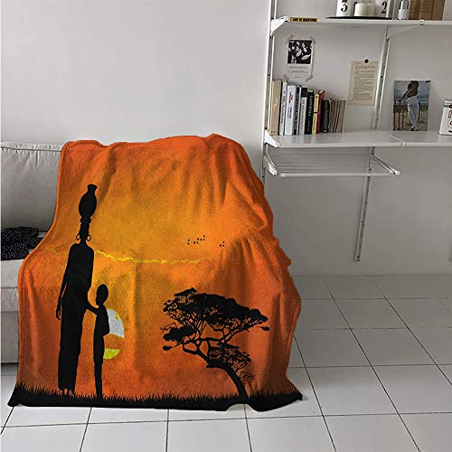 Throw Blanket, Child and Mother at Sunset Walking in Savannah Desert Dawn Kenya Nature Image, Digital Printing Blanket 60x36 Inch Orange Black
