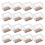Chair Leg Caps, WarmHut 16pcs Transparent Clear Silicone Table Furniture Leg Feet Tips Covers Wood Floor Protectors, Felt Pads, Prevent Scratches, (Rectangle)