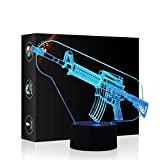 Toy Gun 3D Illusion Halloween Decorations Lamp Night Light, Gawell 7 Color Changing Touch Switch Table Desk Lamps Birthday Present with Acrylic Flat & ABS Base & USB Cable Toy for Gun Fans Lover