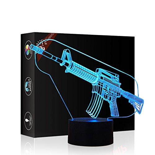 Toy Gun 3D Illusion Halloween Decorations Lamp Night Light, Gawell 7 Color Changing Touch Switch Table Desk Lamps Birthday Present with Acrylic Flat & ABS Base & USB Cable Toy for Gun Fans Lover - 113 Rugby