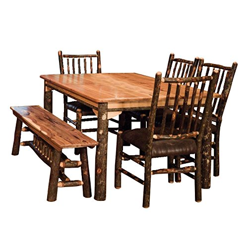 Hickory Dining Room Furniture - Hickory Solid Top Table with Bench and Stick Back Chair