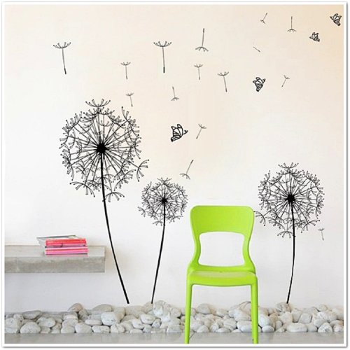 Walplus Huge Dandelion Wall Stickers - Office Home Decoration, 120cm x 120cm, PVC, Removable, Transparent Borders, Self-Adhesive, Multi-Color