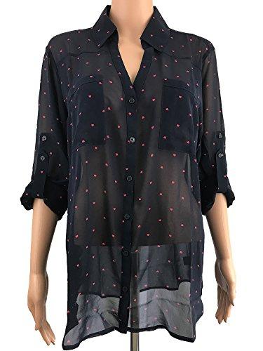 Express Womens Convertible Sleeve Portofino Shirt  M  Blue Heart 026