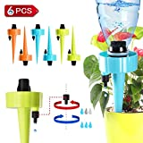 Self Watering Spikes, Plant Waterer, Plant Watering Devices, Automatic Vacation Drip Irrigation Watering Bulbs Globes Stakes System with Slow Release Control Valve Switch for Potted Plants (6 pack)