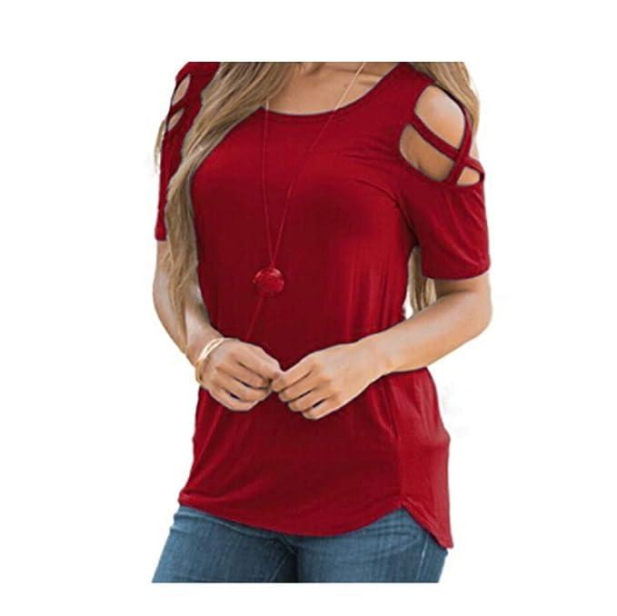 Tops Mujeres Camisetas,Dama Sexy Hombro frío Fuera del Hombro del Hombro Blusa Tiras Camisola