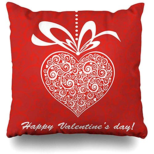 Decorative Throw Pillow Covers Arrival Red Floral Happy Valentines Day Celebration Heart Holiday Holidays Greeting Shape Victorian Home Decor Square Size 18 x 18 Inch Zippered Cushion Case