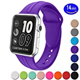 Apple watch band 38mm,Sundo Soft Silicone Replacement Wrist Strap Bracelet Band for Apple Watch Nike+ Sport Edition Series 2 Series 1(Purple 38 SM)