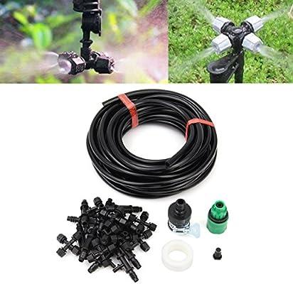 King DO WAY jardín Patio Misting Micro riego sistema de refrigeración de agua cuatro Outlet boquilla de aspersor 10 m: Amazon.es: Hogar