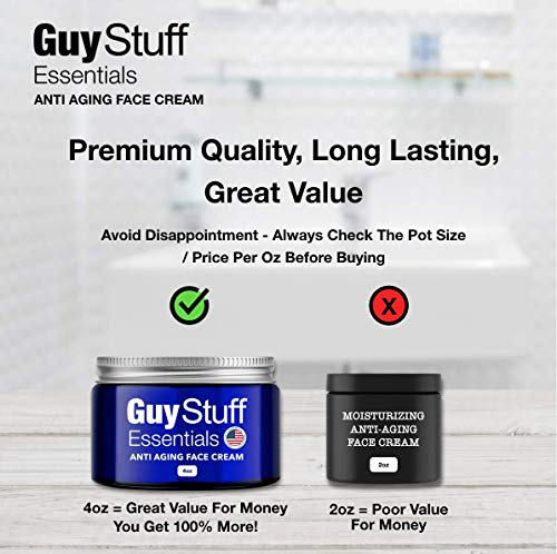 Anti Aging Face Cream for Men - Men's Facial Moisturizer - Anti Wrinkle Lotion - Clinically Proven Natural and Organic Skincare - Made in the United States via Guy Stuff Essentials