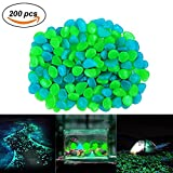Sam4shine 200PCS Glow in The Dark Pebbles, Glow in The Dark Rocks for Outdoor Fairy Garden, Glowing Stones Decoration Gravel for Driveway, Fish Tank, Aquarium, Path, Lawn, Yard