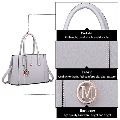 for Pu Top Light Lulu Design Shoulder Quality Skin Tote 1748 Handbag Women Leather Stylish Miss Grey Litchi Ladies f8wqfOaI