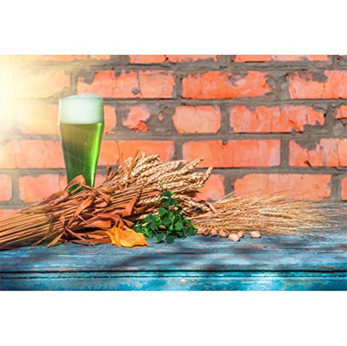 Laeacco 10x7ft St.Patrick's Day Backdrop Vinyl Sunshine Green Beer Clover Nuts Ripe Wheat Rustic Brick Wall Old Blue Wooden Table Background Ireland Traditional Festival Greeting Card ()