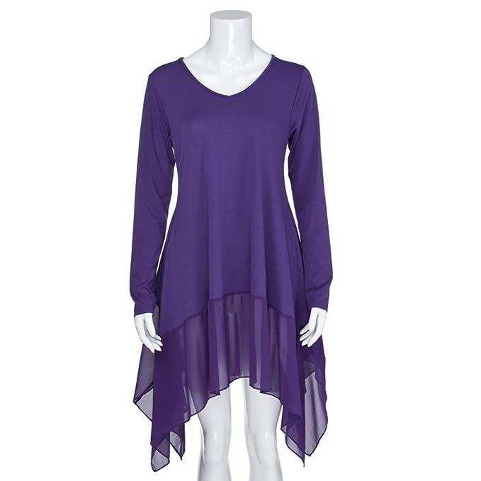 Overdose Blusa para Mujer Talla Grande con Dobladillo Irregular Manga Larga De Color Puro Camisa Suelta