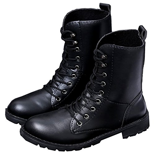Bally99 Combat Boots For Women Military Lace Up Combat Boots Mid-Calf Boots Mid Knee High Boots Cosplay Boots AFCmspwb