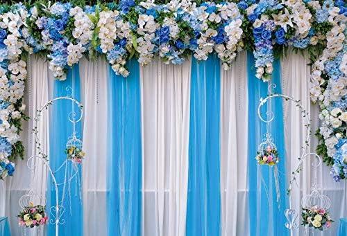 Indoor Floral Wedding Photo Booth Backdrop 10x6.5ft Polyester Blue Panel Screen Flowers Decoration Golden Striped Frames White Carpet Background Wedding Celebration Bridal Shower Bride Groom Shoot