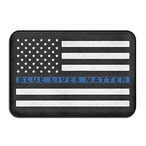 Blue Lives Matter - Thin Blue Line Flag Antiskid Front Door Mats Pet Feeding Mat by Mat_Rug&