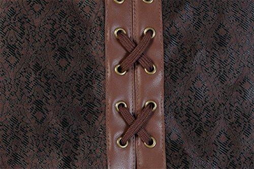 Corsetto Gothic marrone Vintage corsetto Steampunk Rosfajiama Bustino corsetto d7wRdx