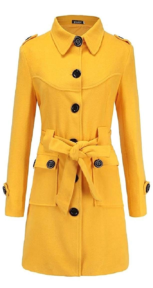 Yellow Mfasica Women Slim Fit Pure color with Belt Single Button Woolen Jacket Outerwear