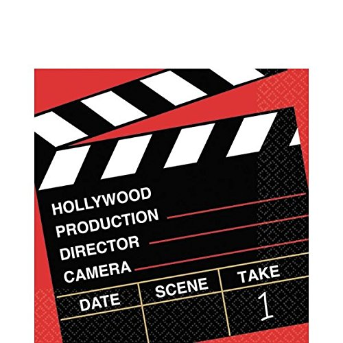 Movie Night Beverage Napkins - Amscan Movie Night Hollywood Party Director s Cut Clapper Luncheon Napkins, 36 Pieces, Made from Paper, Multi Color by
