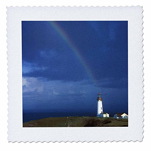 3dRose qs_93783_6 Rainbow, Yakina Bay Lighthouse, Newport, Oregon US38 JMI0657 Janis Miglavs Quilt Square, 16 by 16-Inch (Bay Lighthouse)