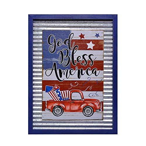 (YEASL 4th July American Flag Wall Signs for Home Decor - Galvanized Corrugated Wood Truck Sign Frame Wall Plaque 15.75'' x 11.8'' x 0.75''(God Bless America))