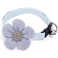 Cat Collar with Flower, Kitty Kitten Necklace for Cats & Small Dogs Nylon Safety Pet Collar Quick Release Buckle(1 Pack…