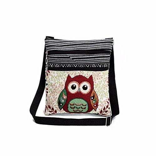 Women Handbag, METFIT Lady Canvas Ethnic style Embroidered Owl Tote Bags Shoulder (Embroidered Shoulder Messenger Bag)